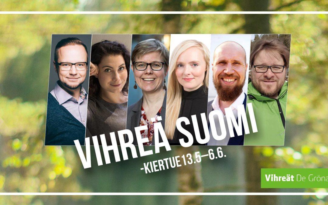 Vihreiden puheenjohtajakiertue Oulussa 27.5. klo 12.30-14